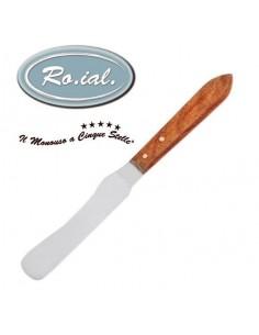Spatula metalica curbata pentru ceara, cu maner din lemn, spatula inox